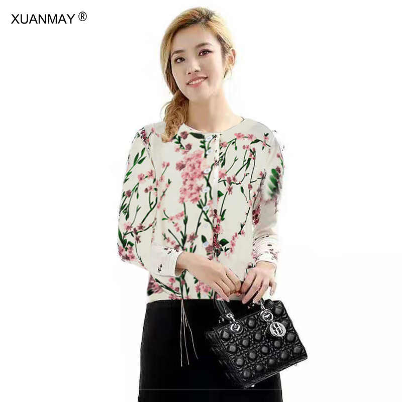 Brand design Spring Women s Cardigan sweater Floral Pattern Knit sweater  Cardigan Elegant ladies knit Button Cardigan 926b5f9b7