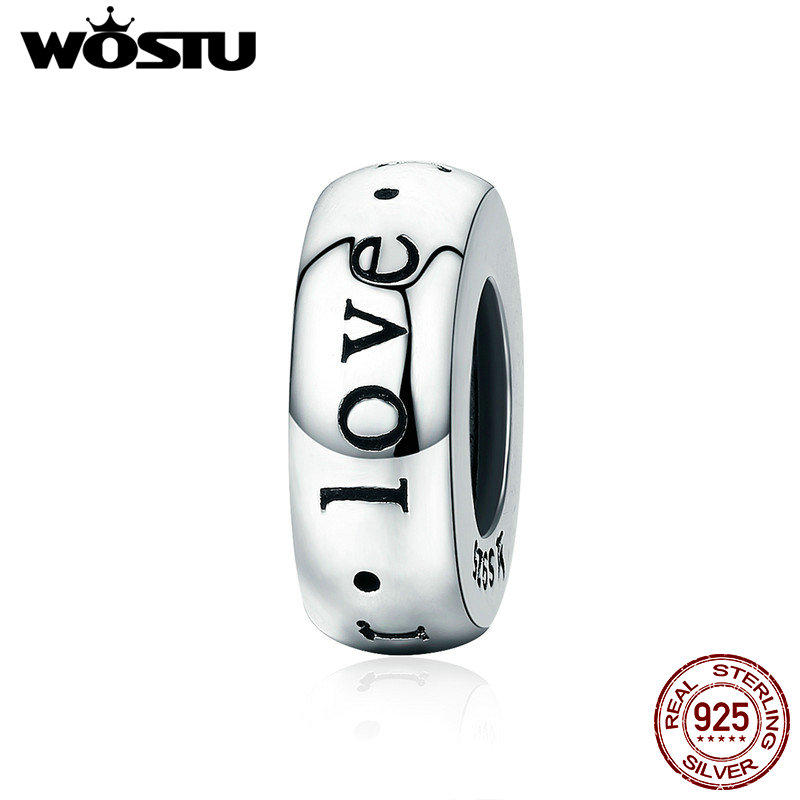WOSTU Genuine 100% 925 Sterling Silver Forever Love Spacer Stopper Beads fit Wostu Original Charm Bracelet Jewelry Gift CQC595 high top quality c shape brass metal