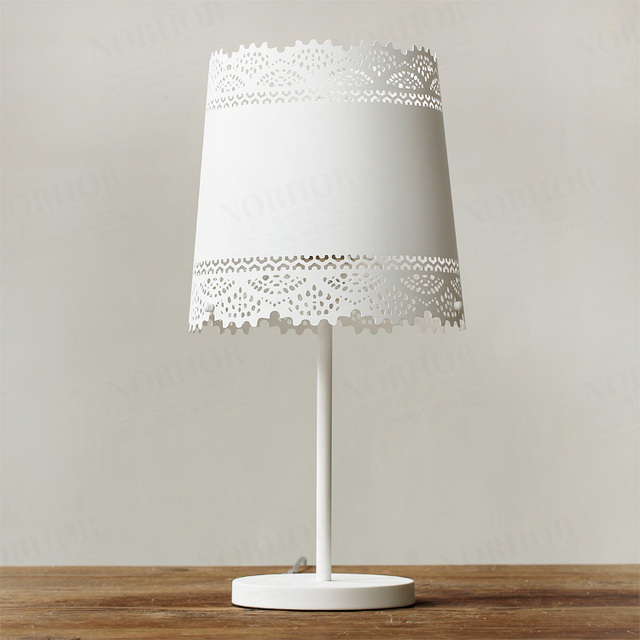 Nordic IKEA Bedroom Bedside Lamp Markor American Country Pastoral Metal  Lace Table Lamp Table Lamp