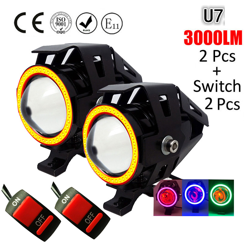 Motorcycle Headlight U7 Cree LED Fog Spot Head Angel Light Lamp