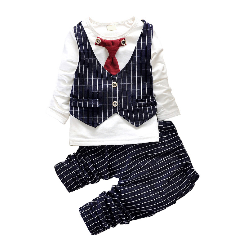 2016 New Spring Baby Boys Clothes Gentleman Suit Toddler Boys Clothing Set Baby Infant Clothing Wedding Birthday Outfits