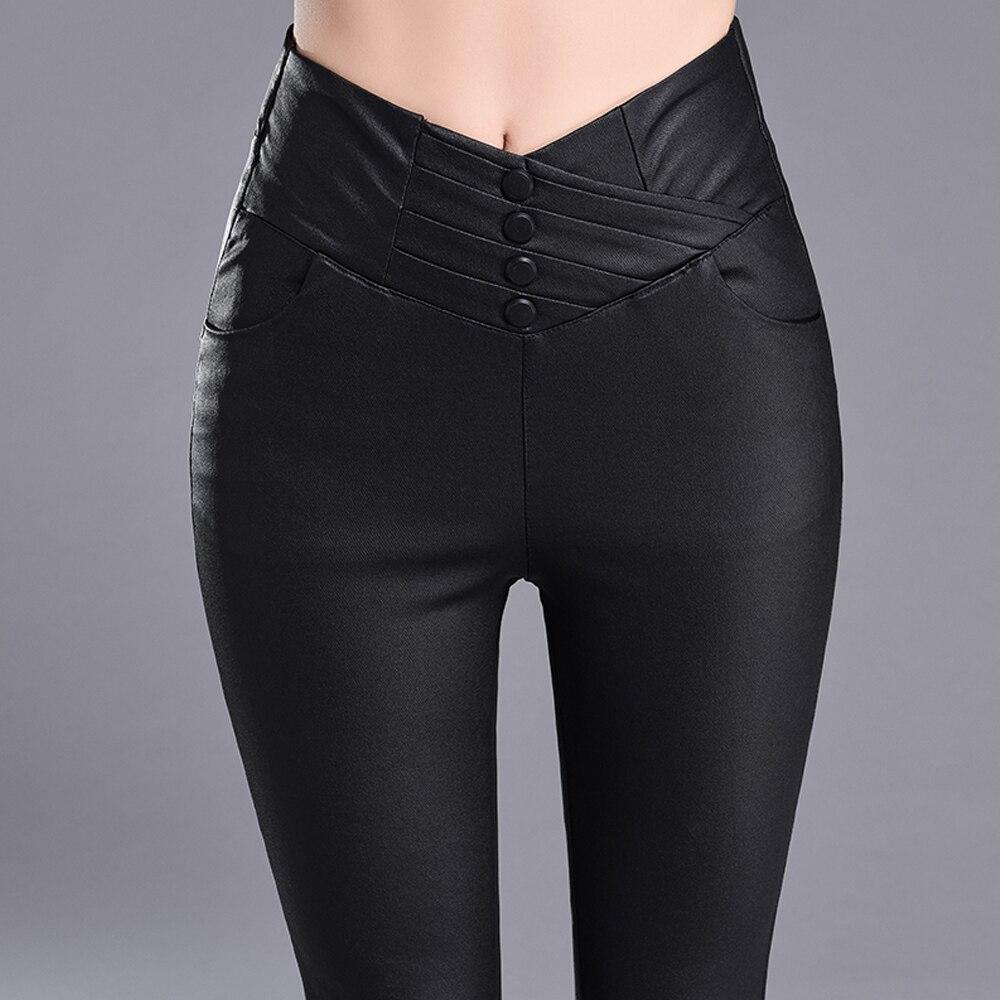 Otoño Invierno mujer PU pantalones de cuero pantalones elásticos de cintura alta Delgado mujer lápiz pantalones leggings Mujer pantalon Mujer