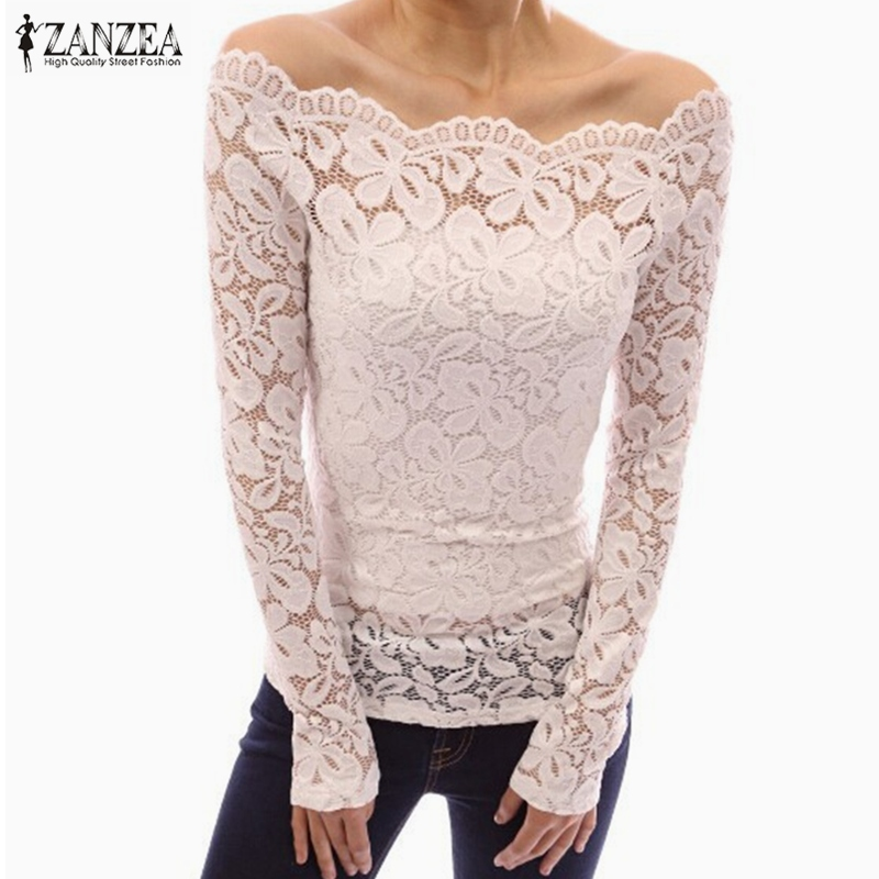 ZANZEA 2018 Spring Sexy Women Blusas Off Shoulder Slash Neck Lace Solid Shirts Long Sleeve Slim Casual Tops Blouse Plus Size
