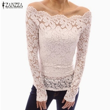 ZANZEA 2018 Spring Sexy Women Blusas Off Shoulder Slash Neck Lace Solid Shirts Long Sleeve Slim