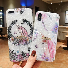 Phone Case For iPhone 7 8 6 6S Plus X XR XS MAX Unicorn Head Pattern Shell Coque Back Cover Soft TPU Silicone Finger Ring Holder flower printed shell finger ring stand phone case for iphone x xr xs max soft tpu cover for iphone 7 8 plus 6 6s gli case coque
