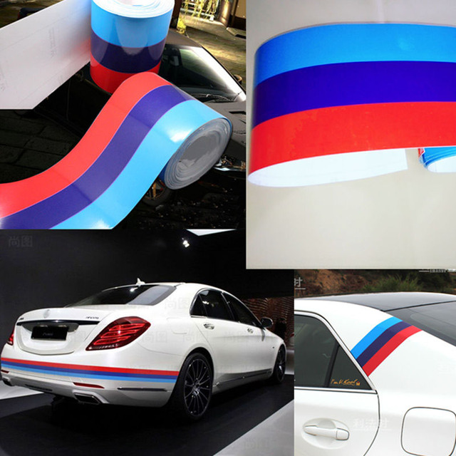 1m For Bmw M Flag Stripe Car Hood Vinyl Sticker Body Decal