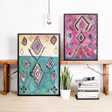 Moroccan Rug Art Prints Boho Wall Decor Eclectic Poster , Watercolor Pink Eclectic Canvas Painting Modern Bohemian Home Wall Art(China)