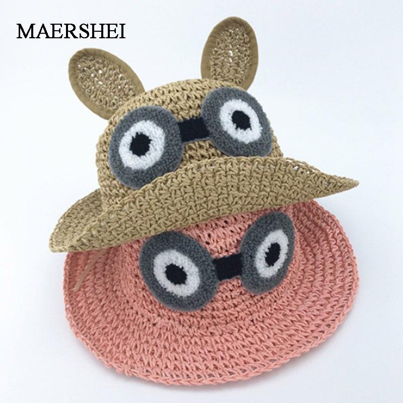 MAERSHEI Summer Boys Girls Straw Sun Hat Long Ears Lafite Panama Children's Beach Hat Sun Visor Hat