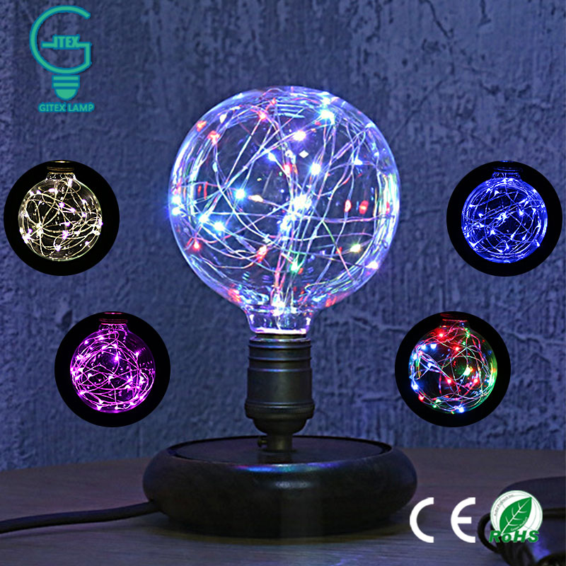 E27 Vintage Design Fairy LED Bulb 110V/220V G95 RGB String Light Filament LED Lamp For Decor Christmas Holiday Wedding lighting delicate silver cuff bracelet for women page 6