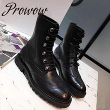 Prowow/Новинка; черные женские ботинки из натуральной кожи на шнуровке; сезон осень-зима; мотоботы с круглым носком на низком каблуке; женская обувь
