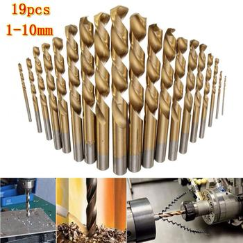 19pcs Manual Twist Drill Bits Titanium Coated HSS High Speed Steel Drill Bit Set Tool 1mm - 10mm Power Tool Accessories 99 pcs manual 1 5mm 10mm twist drill bits gold titanium coated brocas high speed steel drill for metalworking drilling tools