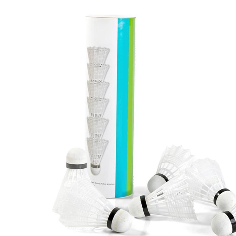 6pcs Super Durable/Light Plastic Nylon Badminton Ball Training Ball Plastic Shuttle Cork Wood Ball Head