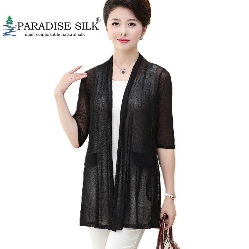 100% chemise à manches courtes en maille de soie pour femmes haut chemisier taille L XL XXL XXXL