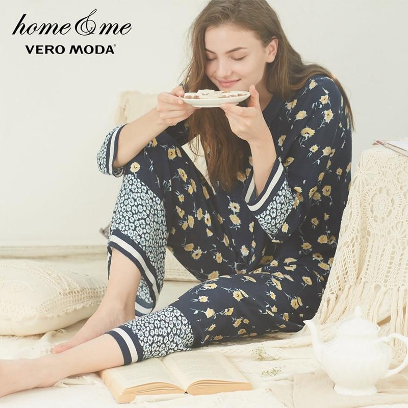 Vero Moda New Women's Elasticized Waist Wide-leg Straight Fit Pajama Sleepwear Pants |3181P7510