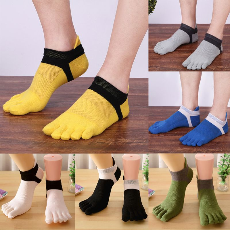 Mens Summer Mesh Breathable Five Finger Boat Socks Low Cut No Show Contrast Color Patchwork Toes Separated Cotton Hosiery Deodor