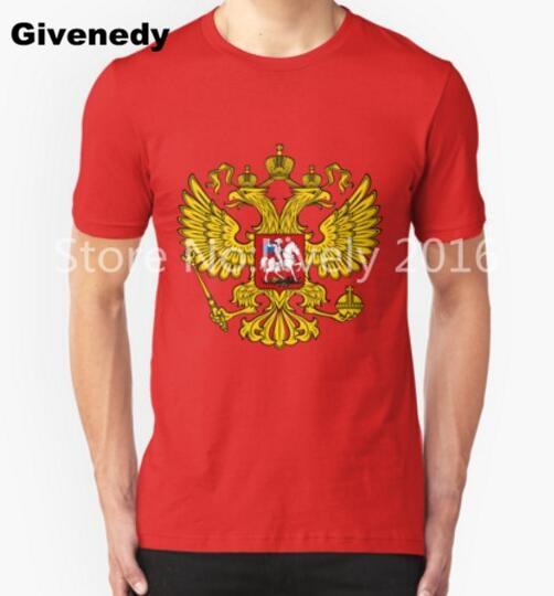 2016-Российская сборная знак Т Рубашки Мужчины 100% Хлопок Мужская С Коротким Рукавом повседневная футболка Топы Тис