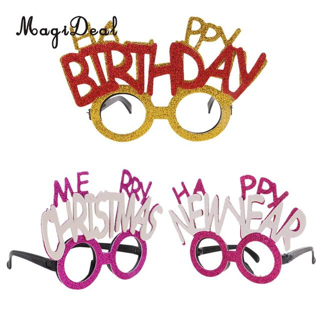 magideal glitter merry christmashappy birthdayhappy new year letters glasses celebration xmas birthday - Merry Christmas And Happy Birthday