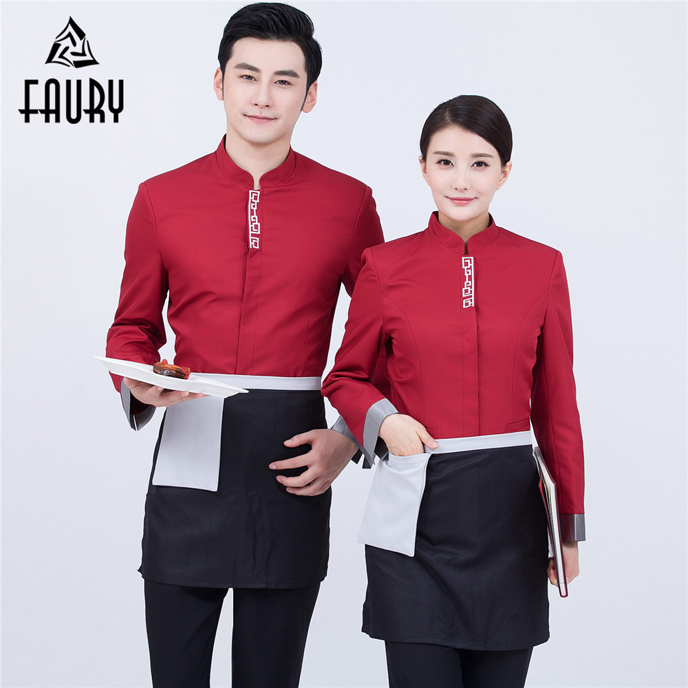 Long Sleeve Chinese Tunic Suit Work Jackets Catering Hotel Restaurant Waiter Waitress Uniforms Autumn Winter Overalls Coats XXXL