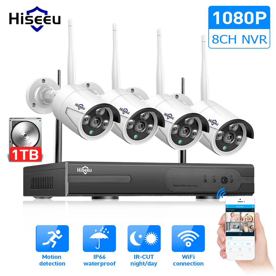 Wireless 8CH NVR Outdoor WIFI IR-CUT Camera Motion Detection Security System 1TB