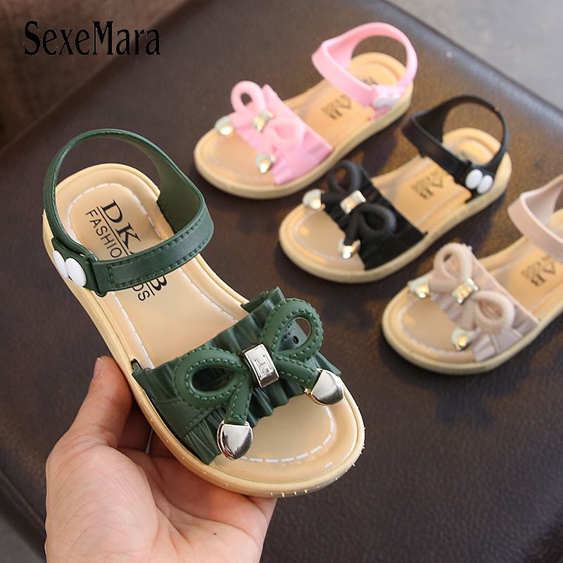 2019 Girls Sandals Summer Kids Shoes Cute Bowtie Big Girl Shoes Princess Children Jelly Sandals little girl sandal slides C04221