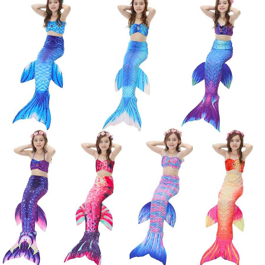 3PCS/Set Swimmable Children Dianonds Mermaid Tail For Swimming Kids Swimsuit Mermaid Tail Costume Girls Dress Bikinis Bathing
