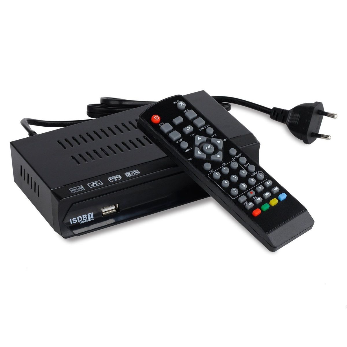 FTA Brasil Peru ISDB-T Sintonizador de TV Digital Terrestre Receptor Set Top Box Full HD 1080P Gravador USB EPG HDMI out VHF UHF Antena