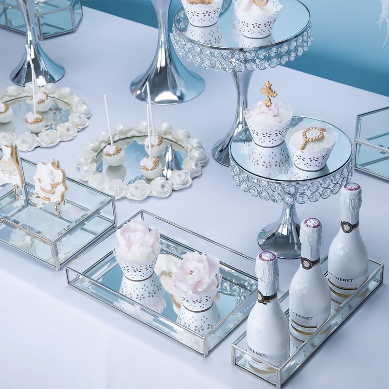 Zilveren Europese bruiloft dessert display ornamenten cake plank cake tray dessert inventaris hart plaat fruitschaal - 3