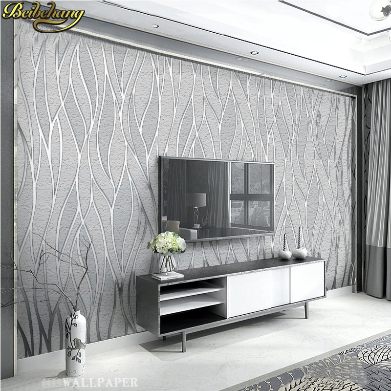 beibehang Modern personality curve Gray Striped wallpaper for walls 3 d Wallpaper For Wall paper Bedroom