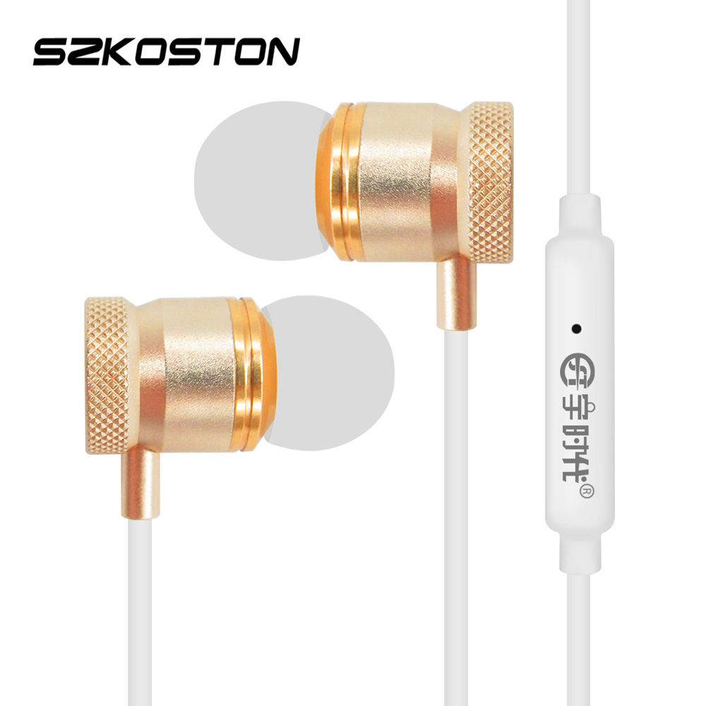 KST Handsfee Call Earphone With Golden Metal Stereo Earbuds+1.2m Milky Earphones Wire+HD Mic For All Phone xiaomi iphone Samsung kst x2 in ear stereo earphone with metal earbuds