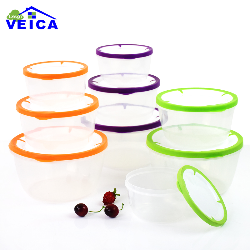 3Pcs/Lot Grid Kitchen Storage Boxes Bins Plastic Box Glossy Candy Jars Sealed Food Containers Organizers Cajas Boite De