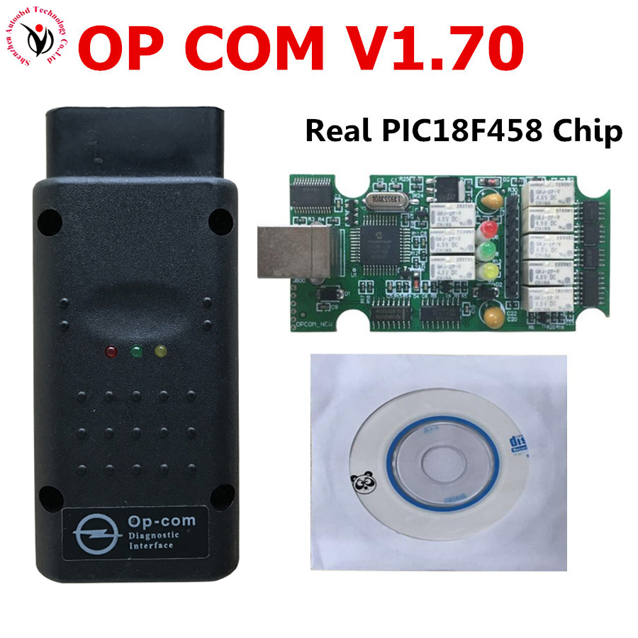 Nouveau OP COM opel V1.70 OPCOM avec Le Meilleur Vert PCB Réel PIC18F458 puce OBD2 CAN BUS pour Opel obd2 Professionnel Outil de diagnostic