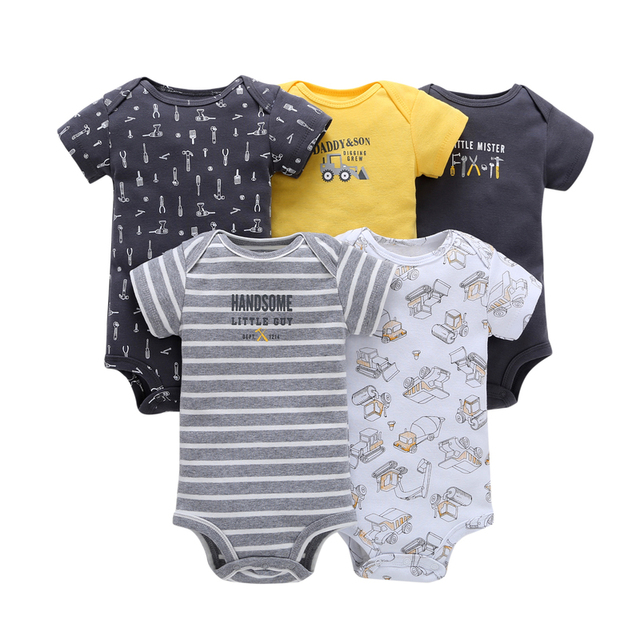 short sleeve print Bodysuit for Baby Boys Girls outfit summer clothes newborn body suit costume 2019 5pcs/set new born clothing