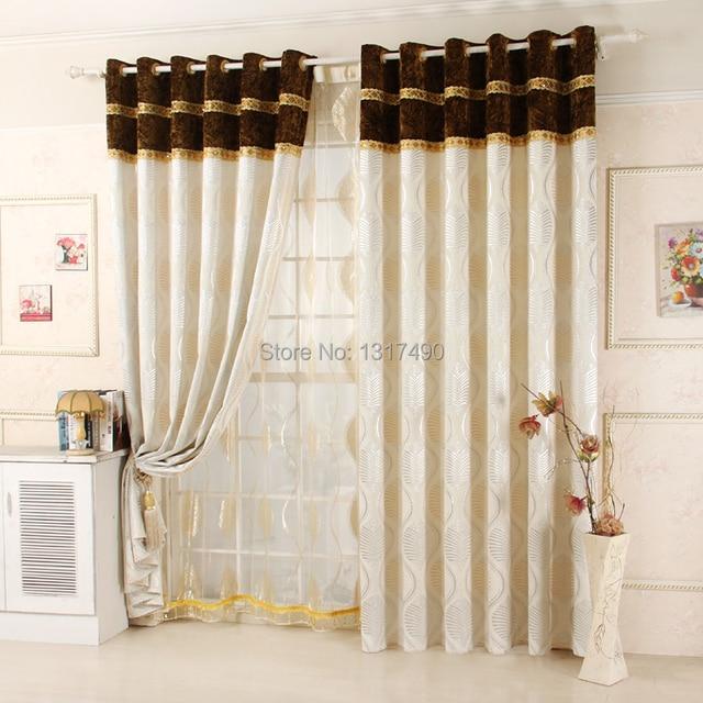 Jacquard moda de lujo engrosamiento cortina chenilla con piso cenefa
