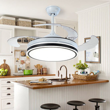 42 Modern Invisible Fan Chandelier with 4 ABS Clear Retractable Blade Mute 3 Gear Wind Speed,Timing,Indoor Low Profile  Ceiling