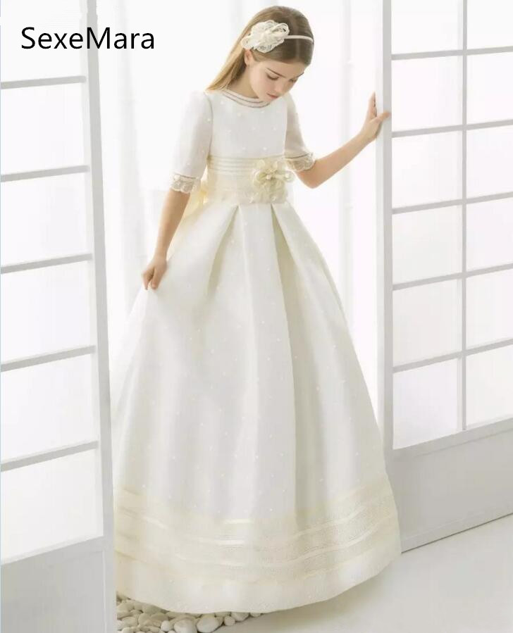 vintage first communion dresses for girls lace half sleeve flower