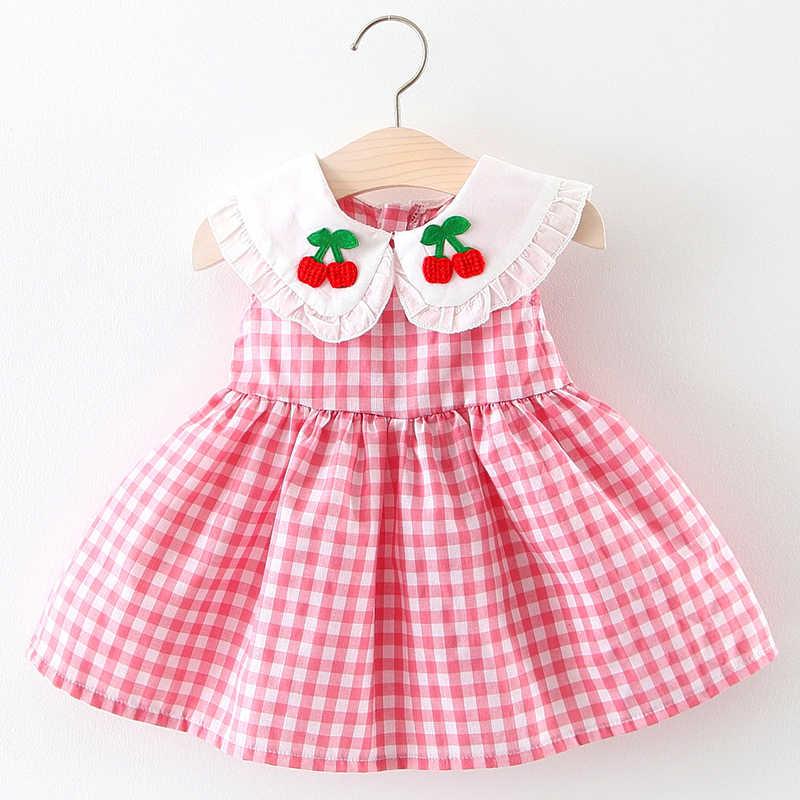 Клетчатые летние милые платья для маленьких девочек 2019 г., платья для маленьких девочек с фруктами, одежда для малышей, розовые платья без рукавов для маленьких девочек 12 месяцев