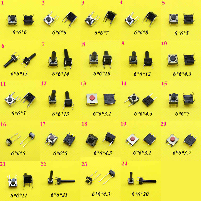 Cltgxdd AJ1-12 6*6 Tact Switch Tattile Push Button Switch Kit Altezza: 4.3 MM ~ 15 MM DIP4 Tact switch 6x6