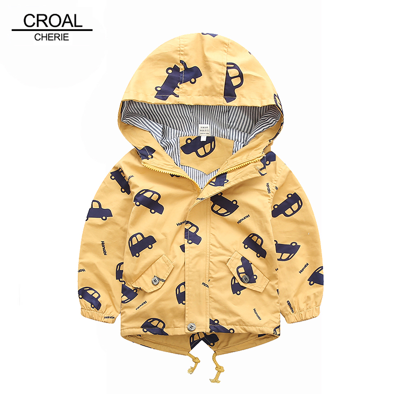 70-120cm 2019 Autumn Jacket Boys Girls Kids Outerwear Cute Car Windbreaker Coats Fashion Print Canvas Baby Children Clothing(China)