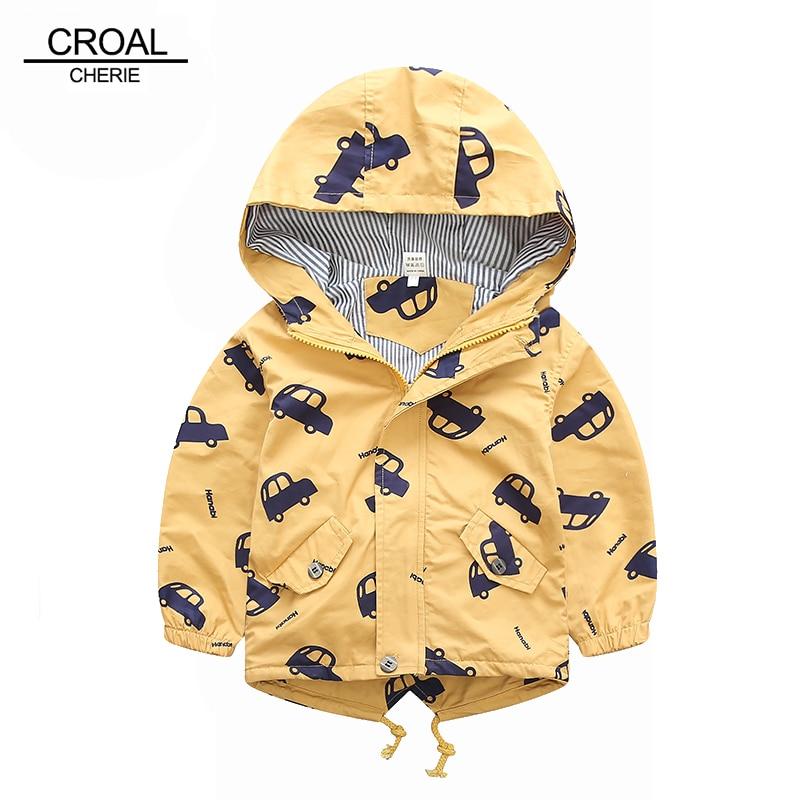 70 120cm 2018 Spring Jacket Boys Girls Kids Outerwear Cute Car Windbreaker Coats Fashion Print Canvas