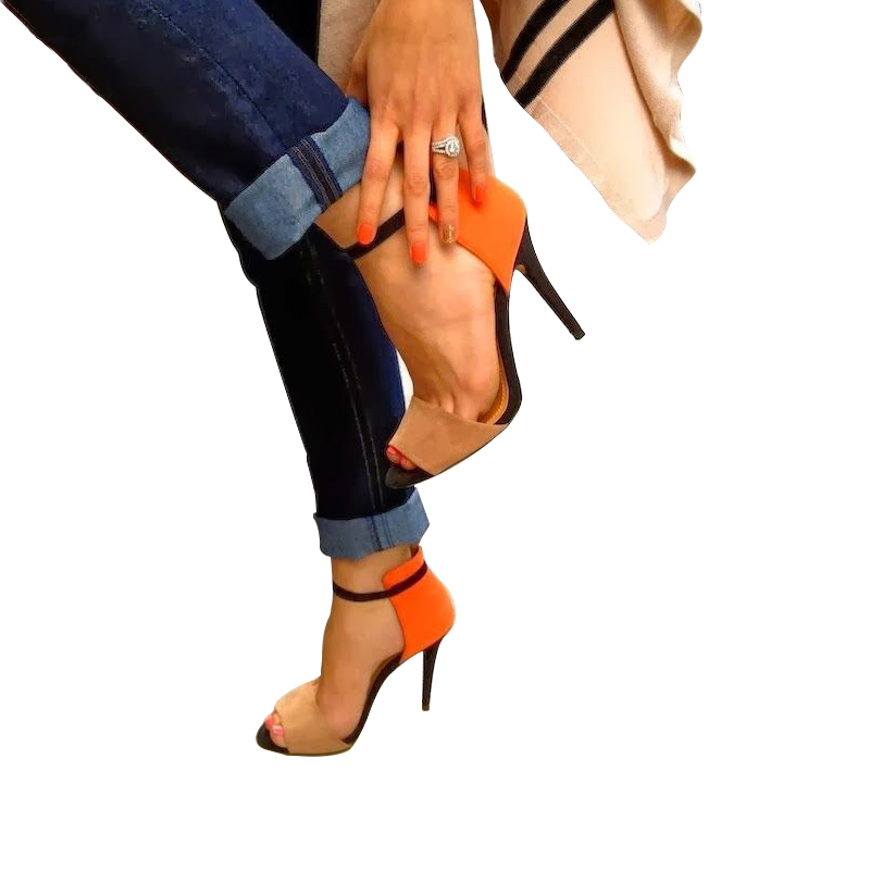 Real image orange and black ankle strap cover heel sandal for women shoes women 2015 stilettos