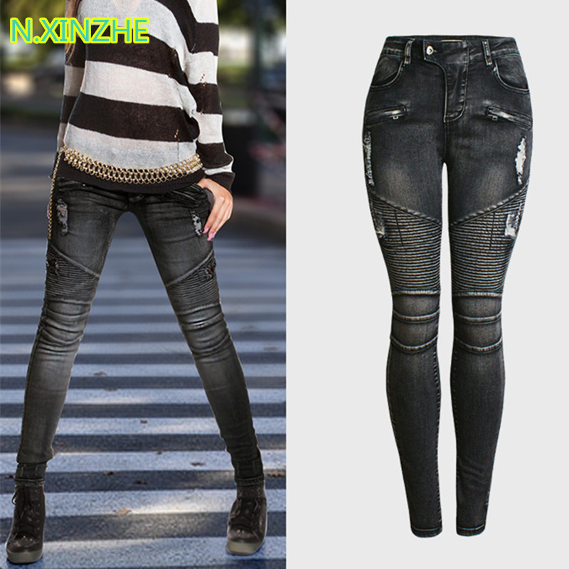 2018 Women Clothing Mid Waist Tight Stretch Hole Pleated Washed Denim Pencil Pants Female Fashion Skinny Moto Biker Cotton Jeans