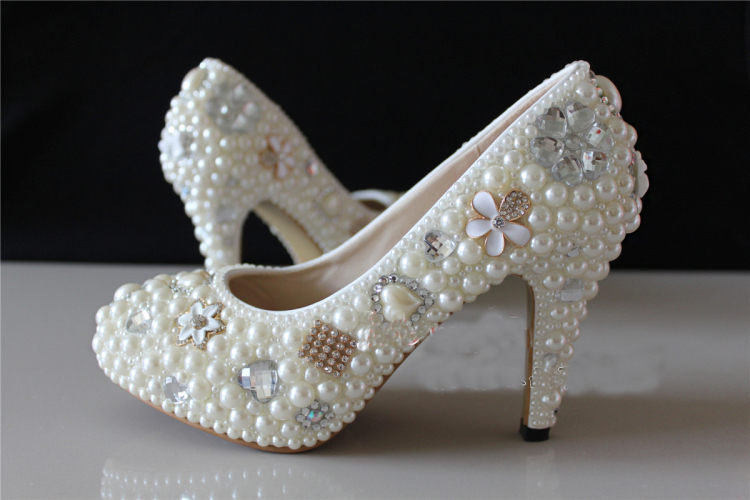 Fashion Lady Spring Dress Shoes Bridesmaid Shoes Prom Heels Bride Wedding Shoes Woman High Heels Woman Rhinestone Platform Pumps