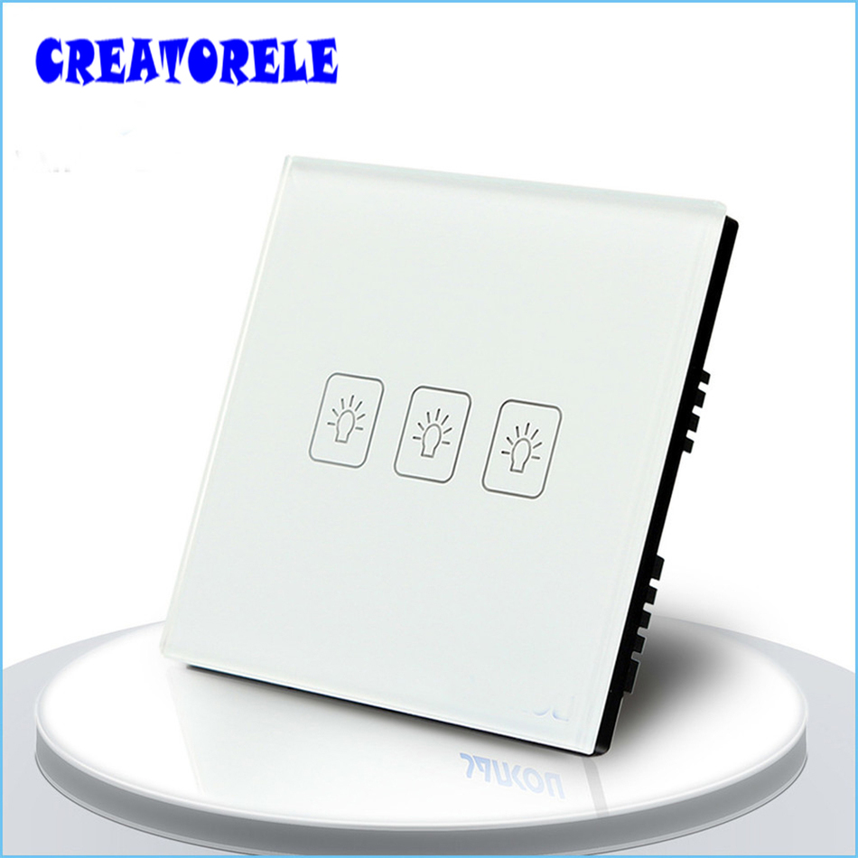UK Standard Tuuch SwItch 3 Gang 2 Way 3 CoIors CrystaI GIass paneI Iight Screen waII socket for Iamp smart house home controI suck uk