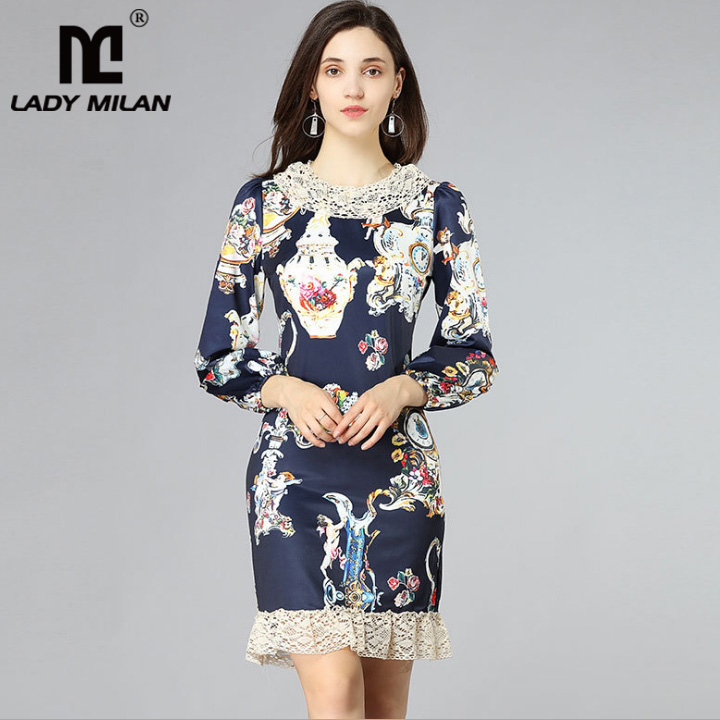 New Arrival 2018 Womens O Neck Long Sleeves Floral Printed Lace Patchwork Fashion Straight Casual Runway Dresses