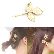 Fashion Women Girls Korean Vintage Golden Leaf Shape Alloy Hairpin Headpieces Hair Clips Accessories(China)