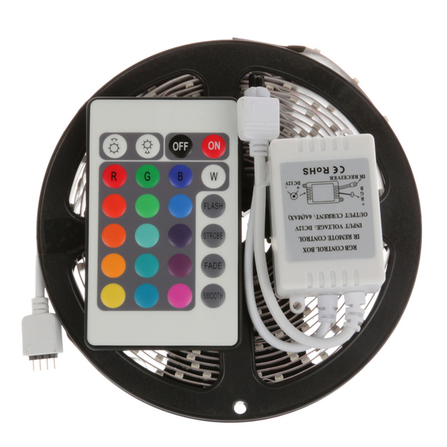 Outdoor 5M 3528 RGB Waterproof Flexible Strip 300 LED Light +24KEY IR controller