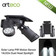 14LEDs LED Solar Lamp PIR Motion Sensor Dual Head Spotlight Adjustable Waterproof  Wall Light for Yard Garden Driveway