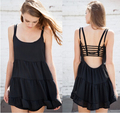 Free shipping European and American brandy melville chiffon spaghetti strap one-piece dress ruffle women's laciness sleeveless