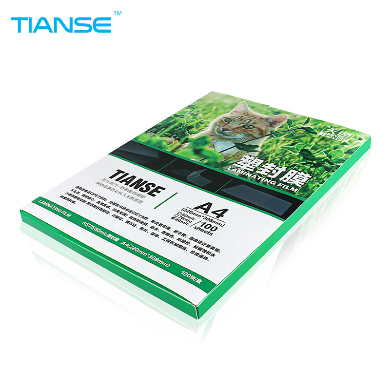 TIANSE A4 60 mic Laminating Film PET plastic EVA stickinees 100 sheets for luminous high glossy photo paper laminator pouches cewaal 2017 cla403l a4 photo laminator paper film document thermal hot