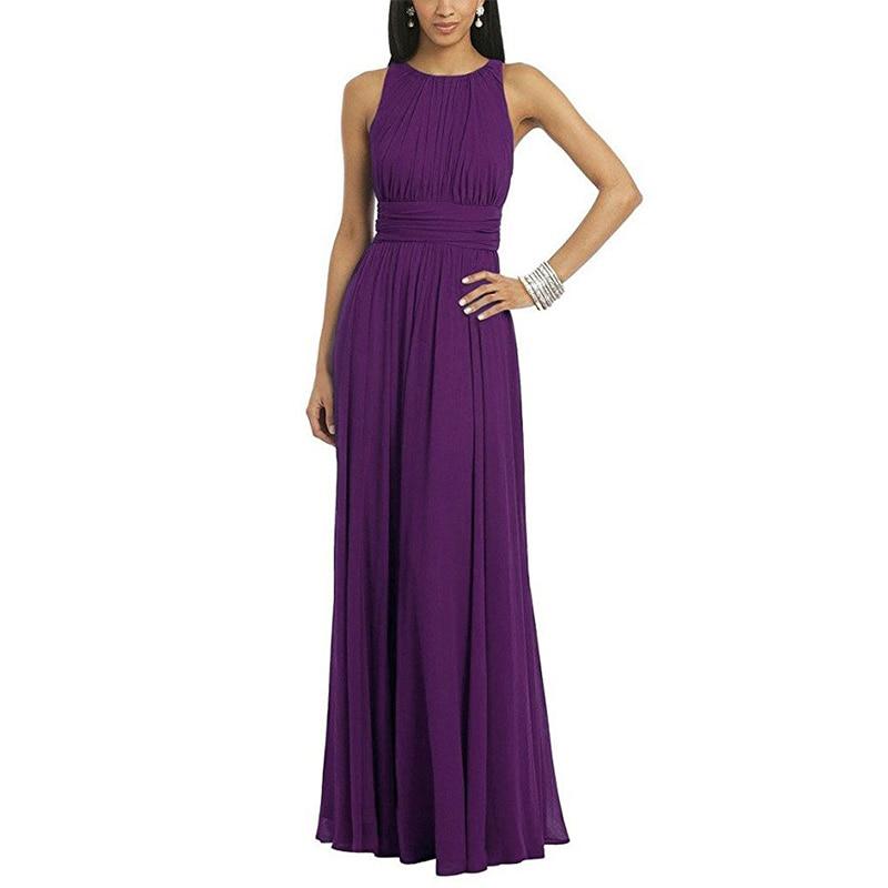 Purple   Bridesmaid     Dresses   O-neck Sleeveless Floor Length Pleats Chiffon Burgundy Champagne Coral Bride Maid Of Honor   Dresses